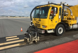 UHP waterblasting safely and effectively removes old paint and rubber from runways and taxiways